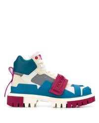 Bottines plates à lacets en cuir multicolores Dolce & Gabbana
