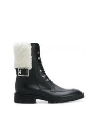 Bottines plates à lacets en cuir noires et blanches Givenchy