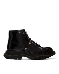 Bottines plates à lacets en cuir noires Alexander McQueen
