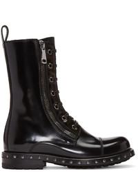 Bottines plates à lacets en cuir noires Dolce & Gabbana