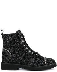 Bottines plates à lacets en cuir noires Giuseppe Zanotti Design