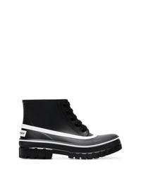Bottines plates à lacets en cuir noires Givenchy