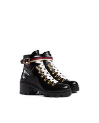Bottines plates à lacets en cuir noires Gucci