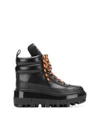 Bottines plates à lacets en cuir noires Marc Jacobs