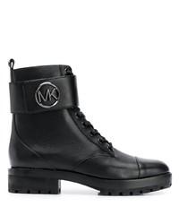 Bottines plates à lacets en cuir noires MICHAEL Michael Kors