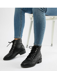 Bottines plates à lacets en cuir noires New Look Wide Fit