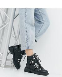 Bottines plates à lacets en cuir noires Raid Wide Fit