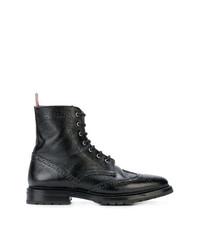 Bottines plates à lacets en cuir noires Thom Browne