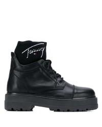 Bottines plates à lacets en cuir noires Tommy Jeans