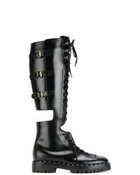 Bottines plates à lacets en cuir noires Valentino