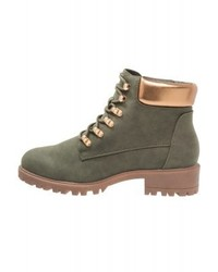Bottines plates à lacets en cuir olive New Look
