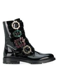 Bottines plates à lacets en cuir ornées noires Dolce & Gabbana