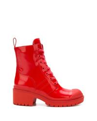Bottines plates à lacets en cuir rouges Marc Jacobs
