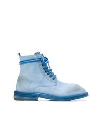 Bottines plates à lacets en daim bleu clair Marsèll