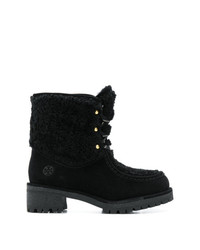 Bottines plates à lacets en daim noires Tory Burch