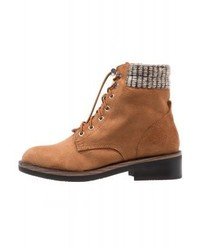 Bottines plates à lacets tabac Only