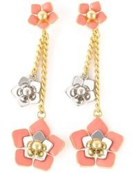 Boucles d'oreilles à fleurs roses Fendi