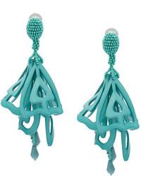 Boucles d'oreilles bleu canard Oscar de la Renta