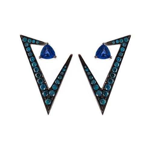 Boucles d'oreilles bleu marine Nikos Koulis