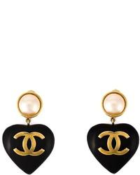 Boucles d'oreilles noir et doré Chanel