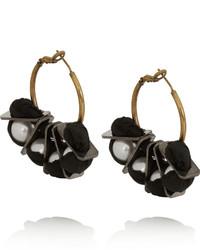 Boucles d'oreilles noir et doré Lanvin