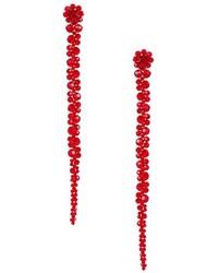 Boucles d'oreilles ornées de perles à fleurs rouges Simone Rocha