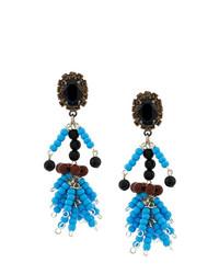 Boucles d'oreilles ornées de perles bleues Marni