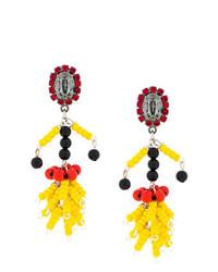 Boucles d'oreilles ornées de perles jaunes Marni