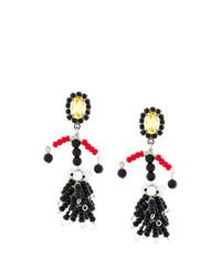 Boucles d'oreilles ornées de perles noires Marni