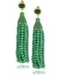 Boucles d'oreilles ornées de perles vertes