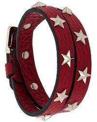 Bracelet en cuir à clous bordeaux RED Valentino