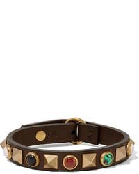 Bracelet en cuir à clous marron foncé Valentino