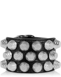 Bracelet en cuir à clous noir
