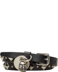 Bracelet en cuir à clous noir Alexander McQueen