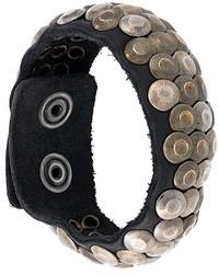 Bracelet en cuir à clous noir Diesel