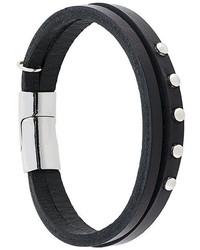Bracelet en cuir à clous noir Eleventy