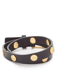 Bracelet en cuir à clous noir Tory Burch
