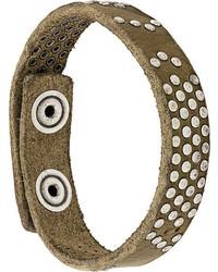 Bracelet en cuir à clous olive Diesel