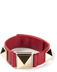 Bracelet en cuir à clous rouge Valentino Garavani