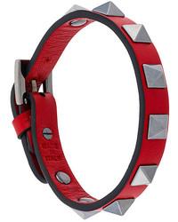 Bracelet en cuir à clous rouge Valentino