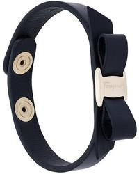 Bracelet en cuir bleu marine Salvatore Ferragamo