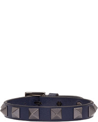 Bracelet en cuir bleu marine Valentino
