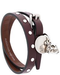 Bracelet en cuir bordeaux Alexander McQueen