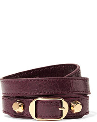 Bracelet en cuir bordeaux Balenciaga
