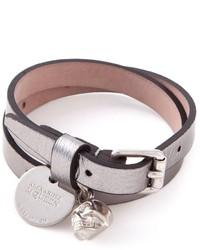 Bracelet en cuir gris Alexander McQueen
