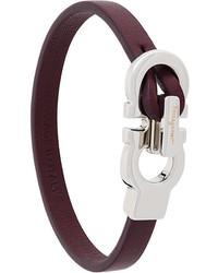Bracelet en cuir marron foncé Salvatore Ferragamo