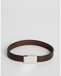Bracelet en cuir marron foncé Ted Baker