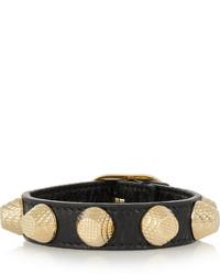 Bracelet en cuir noir et doré Balenciaga