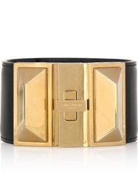 Bracelet en cuir noir et doré Saint Laurent