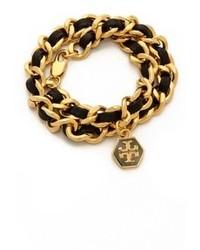 Bracelet en cuir noir et doré Tory Burch